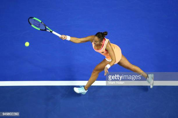 Lesley Kerkhove of the Netherlands plays a forehand in her match against Ashleigh Barty of Australia during the World Group PlayOff Fed Cup tie...