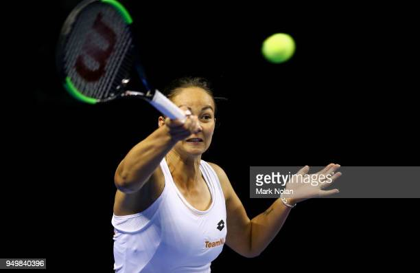 Lesley Kerkhove of the Netherlands plays a forehand in the doubles match with Demi Schuurs against Destanee Aiava and Daria Gavrilova of Australia...