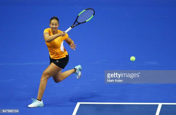 Lesley Kerkhove of the Netherlands practices during a training session ahead of the World Group PlayOff Fed Cup tie between Australia and the...