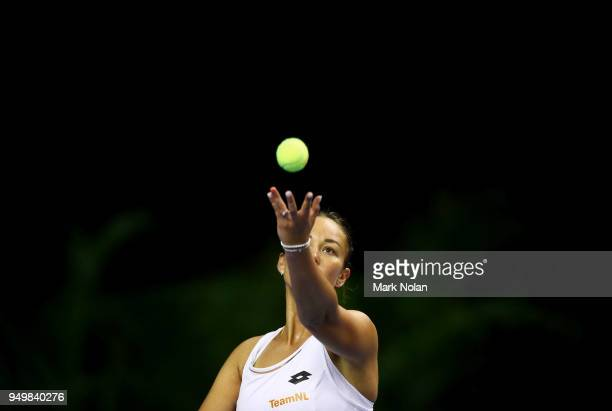Lesley Kerkhove of the Netherlands serves in the doubles match with Demi Schuurs against Destanee Aiava and Daria Gavrilova of Australia during the...