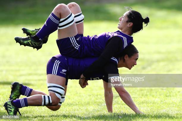 Lesley Ketu runs through drills with Sarah Goss during a New Zealand Black Ferns training session at Grammar Tec Rugby Club on July 30, 2017 in...