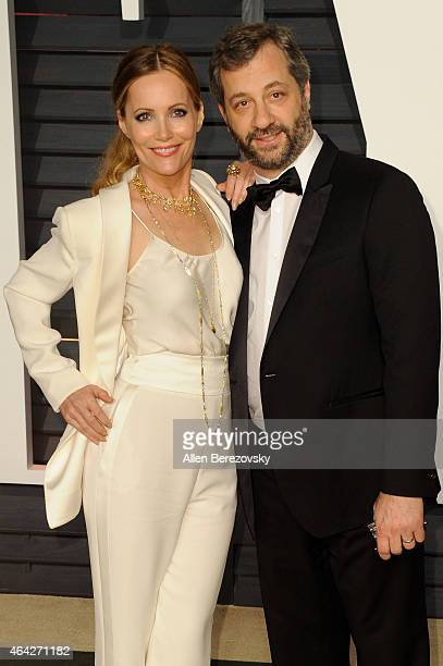 Lesley Mann and Judd Apatow arrive at the 2015 Vanity Fair Oscar Party at Wallis Annenberg Center for the Performing Arts on February 22 2015 in...