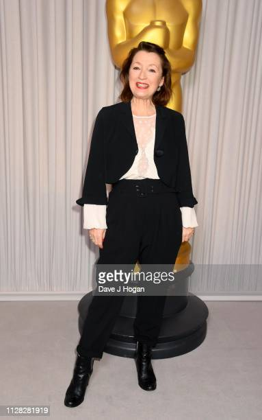 Lesley Manville and attends the 91st Oscars Nominee Champagne Tea Reception at Claridges Hotel on February 08 2019 in London England