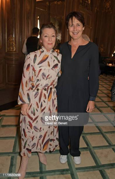 Lesley Manville and Fiona Shaw attend The Academy Women's Initiative luncheon presented by Swarovski at Claridge's Hotel on October 4 2019 in London...