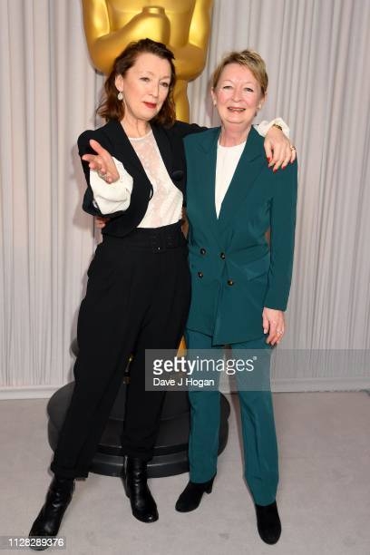 Lesley Manville and her sister attend the 91st Oscars Nominee Champagne Tea Reception at Claridges Hotel on February 08 2019 in London England