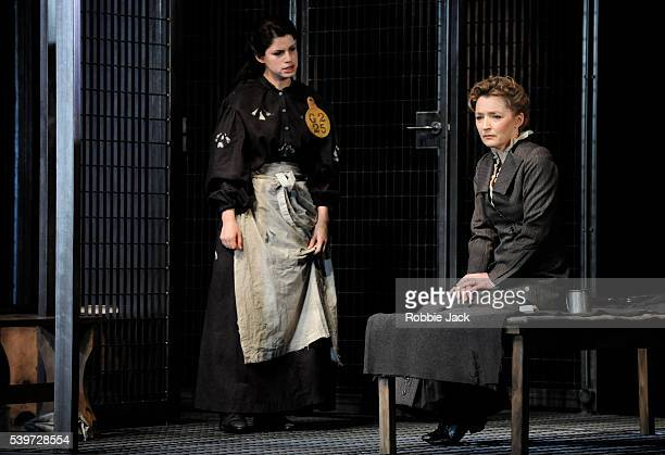 Lesley Manville and Jemima Rooper perform in the National Theatre's production of Rebecca Lenkiewicz's play Her Naked Skin at the National Theatre in...