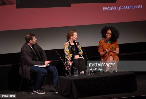 Lesley Manville and Naomi Ackie speak during the Working Class Heroes event a series of discussions and screenings looking at what it means to be...