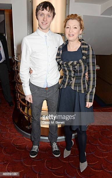 Lesley Manville and son Alfie Oldman attend the 2014 Critics' Circle Theatre Awards at the Prince Of Wales Theatre on January 28 2014 in London...