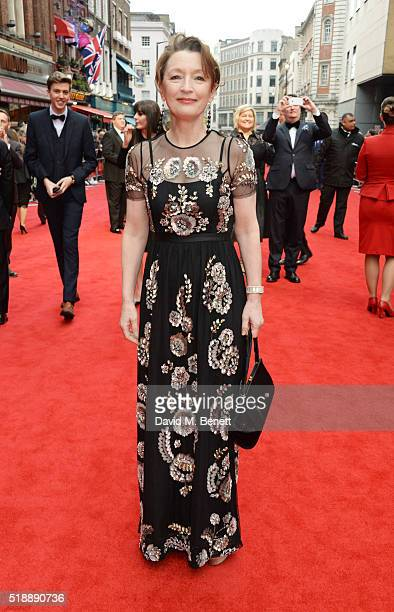 Lesley Manville arrives at The Olivier Awards with Mastercard at The Royal Opera House on April 3 2016 in London England