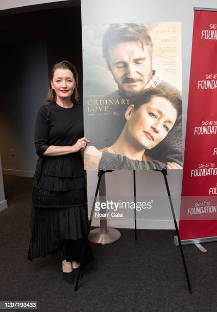 Lesley Manville attends a career retrospective conversation at SAGAFTRA Foundation at The Robin Williams Center on February 18 2020 in New York City