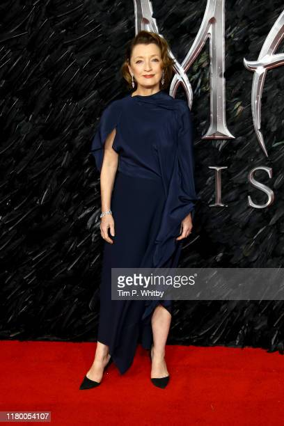 Lesley Manville attends the European premiere of Maleficent Mistress of Evil at Odeon IMAX Waterloo on October 09 2019 in London England