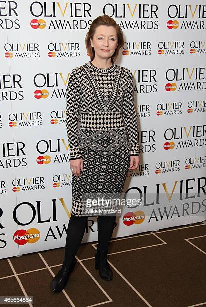 Lesley Manville attends the nominations photocall for the Olivier Awards at Rosewood London on March 9 2015 in London England