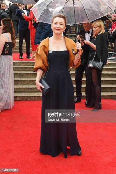 Lesley Manville attends The Olivier Awards with Mastercard at Royal Albert Hall on April 8 2018 in London England