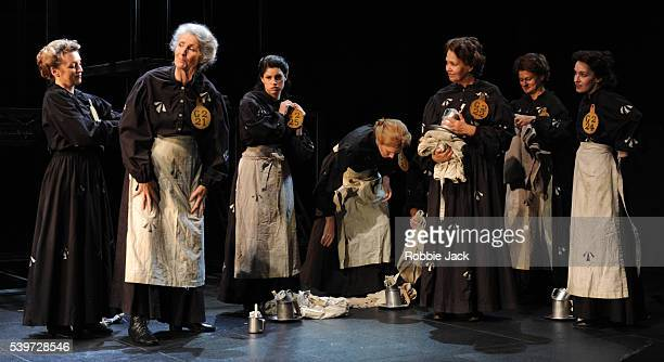 Lesley Manville Jemima Rooper and Susan Engel perform with artists of the company in the National Theatre's production of Rebecca Lenkiewicz's play...