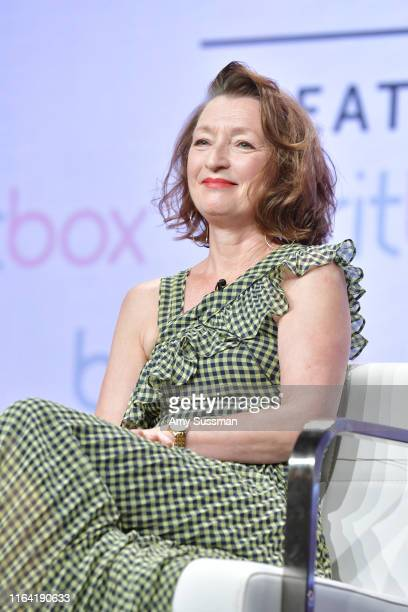 Lesley Manville of Mum speaks during the BritBox segment of the Summer 2019 Television Critics Association Press Tour 2019 at at The Beverly Hilton...
