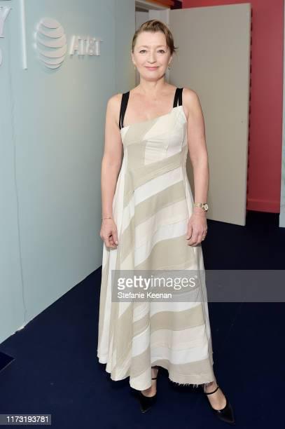 Lesley Manville stops by ATT ON LOCATION during Toronto International Film Festival 2019 at Hotel Le Germain on September 08 2019 in Toronto Canada