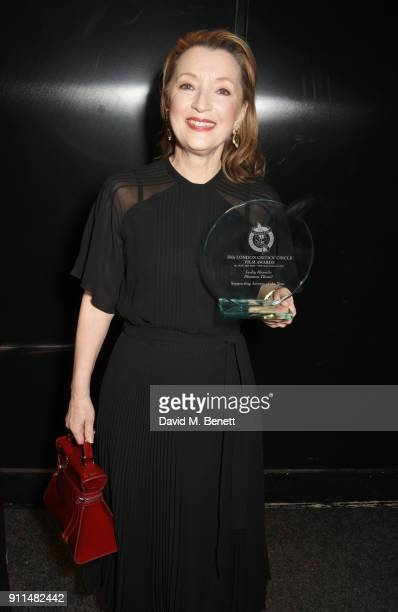 Lesley Manville winner of the Supporting Actress award for 'Phantom Thread' attends the London Film Critics' Circle Awards 2018 at The May Fair Hotel...