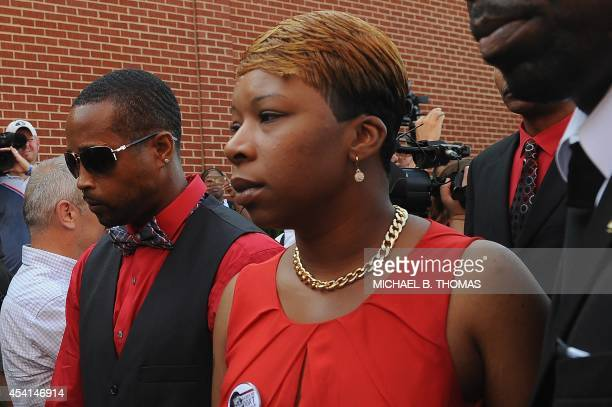 Lesley McSpadden arrives at the funeral for her slain 18year old son Michael Brown Jr at Friendly Temple Missionary Baptist Church in St Louis...
