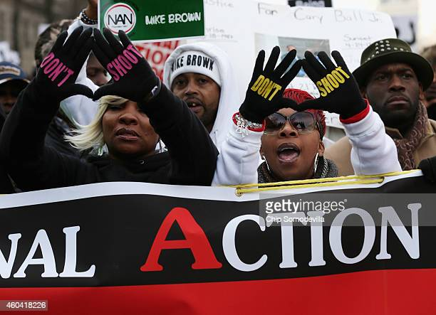 Lesley McSpadden mother of police shooting victim Michael Brown helps lead the Justice For All rally and march against police brutality and the...