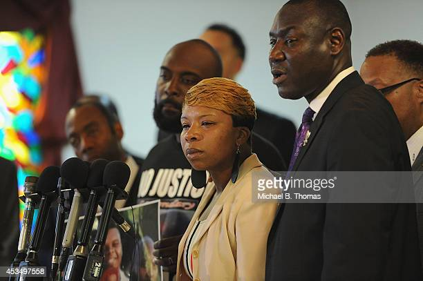 Lesley McSpadden, mother of slain 18 year-old Michael Brown speaks during a press conference at Jennings Mason Temple Church of God In Christ, on...