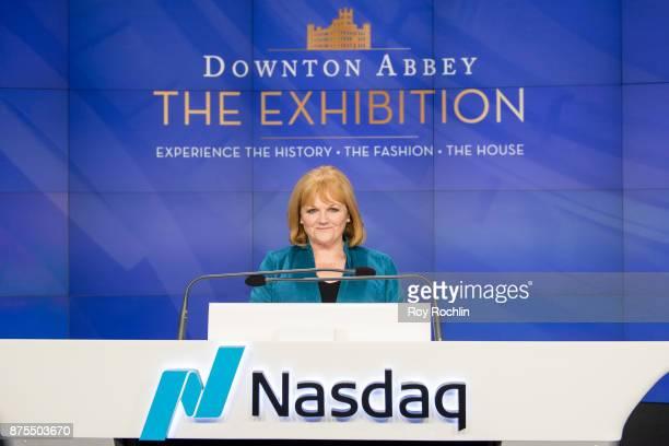 Lesley Nicol of 'Downton Abbey' rings the Nasdaq Stock Market Closing Bell at NASDAQ on November 17 2017 in New York City