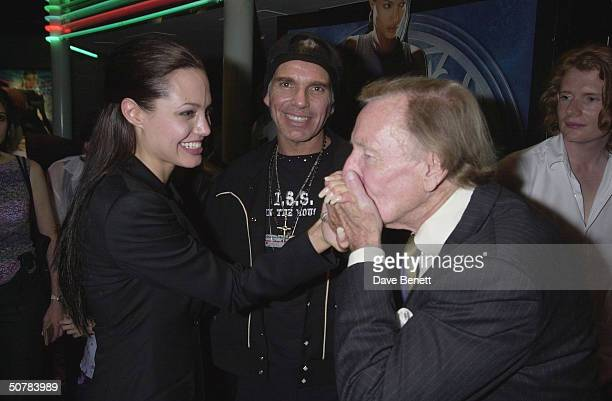 Lesley Phillips with Angelina Jolie and Billy Bob Thornton at the premiere of Tomb Raider on July 03 2001 at the Empire in Leicester Sq London