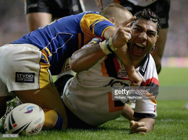 Lesley Vainikolo of Bradford celebrates after scoring a try during the Engage Super league Grand Final between Leeds Rhinos and Bradford Bulls at Old...