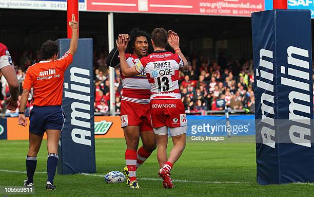 Lesley Vainikolo of Gloucester celebrates with Henry Trinder after scoring during the Amlin Challenge Cup match between Gloucester and Femi CZ Rovigo...