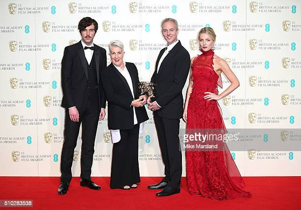 Lesley Vanderwalt and Damian Martin with their awards for Best MakeUp and Hair on the film 'Mad Max Fury Road' with presenters Annabelle Wallis and...