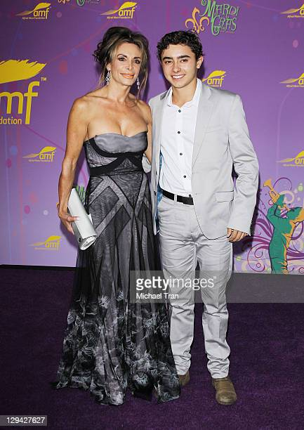 Lesley Vogel and son Jansen Panettiere arrive at The Alfred Mann Foundation's annual blacktie gala held at Hangar 8 on October 16 2011 in Santa...