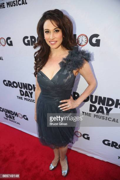 Lesli Margherita poses at the opening night of the new musical based on the film Groundhog Day on Broadway at The August Wilson Theatre on April 17...
