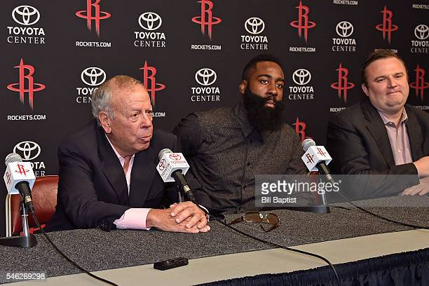 Leslie Alexander announces James Harden of the Houston Rockets new contract during a press conference on July 09 2016 at Toyota Center in Houston...