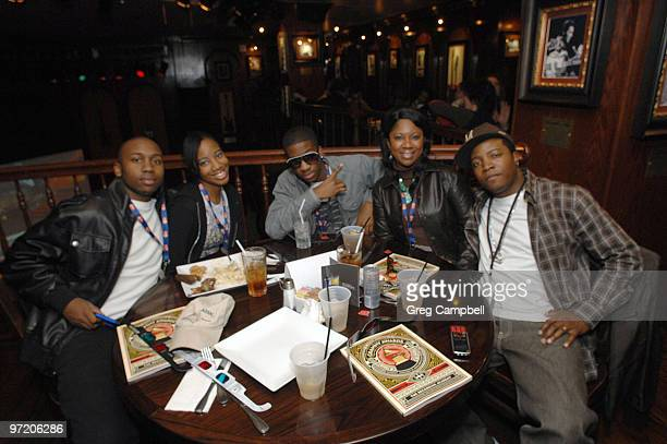 Leslie Armsted Alisha Bailey Young AJ Tracey Bailey and Al Capone attend the 52nd Annual GRAMMY Awards Telecast Viewing Party at Hard Rock Cafe on...