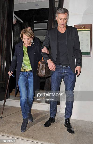 Leslie Ash and Husband Lee Chapman sighting leaving 34 Restaurant in Mayfair on April 12 2013 in London England