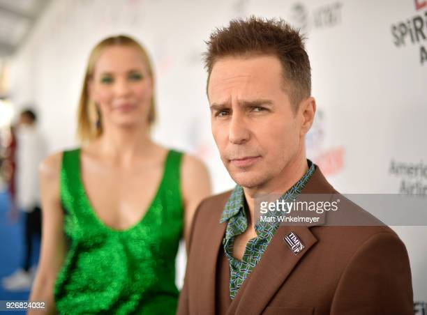 Leslie Bibb and Sam Rockwell attend the 2018 Film Independent Spirit Awards on March 3 2018 in Santa Monica California