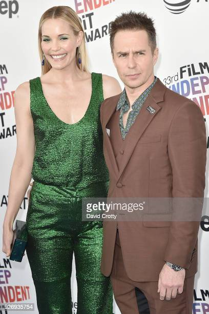 Leslie Bibb and Sam Rockwell attend the 2018 Film Independent Spirit Awards Arrivals on March 3 2018 in Santa Monica California