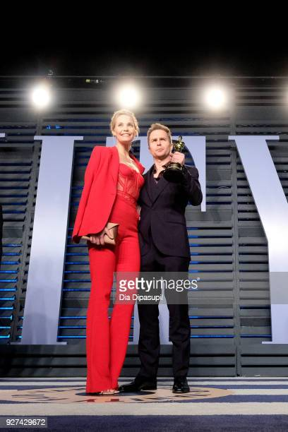 Leslie Bibb and Sam Rockwell attend the 2018 Vanity Fair Oscar Party hosted by Radhika Jones at Wallis Annenberg Center for the Performing Arts on...