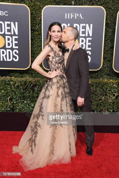 Leslie Bibb and Sam Rockwell attend the 76th Annual Golden Globe Awards at The Beverly Hilton Hotel on January 6 2019 in Beverly Hills California