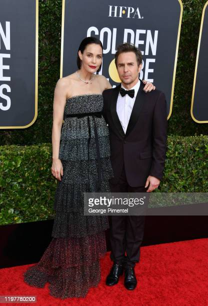 Leslie Bibb and Sam Rockwell attend the 77th Annual Golden Globe Awards at The Beverly Hilton Hotel on January 05 2020 in Beverly Hills California
