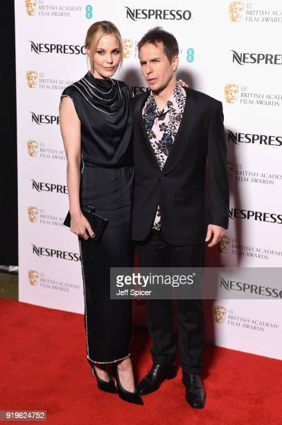 Leslie Bibb and Sam Rockwell attend the EE British Academy Film Awards nominees party at Kensington Palace on February 17 2018 in London England