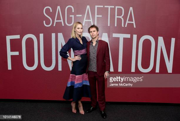 Leslie Bibb and Sam Rockwell attend the SAGAFTRA Foundation Conversations Blue Iguana at The Robin Williams Center on August 9 2018 in New York City