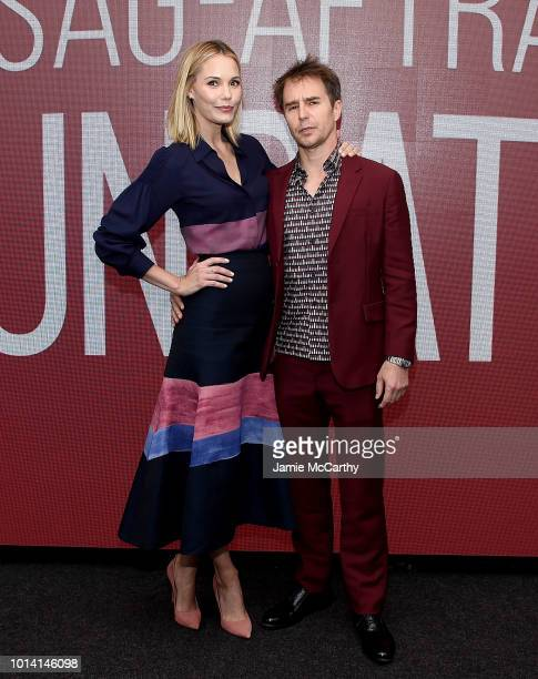 Leslie Bibb and Sam Rockwell attend the SAGAFTRA Foundation Conversations 'Blue Iguana' at The Robin Williams Center on August 9 2018 in New York City