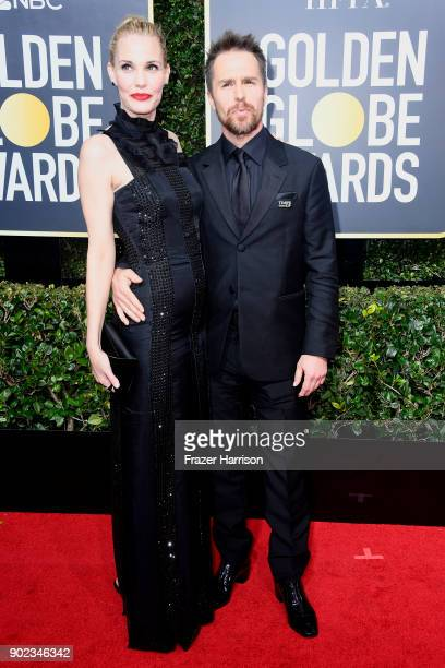 Leslie Bibb and Sam Rockwell attends The 75th Annual Golden Globe Awards at The Beverly Hilton Hotel on January 7 2018 in Beverly Hills California