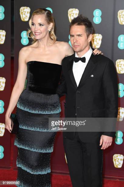 Leslie Bibb and Sam Rockwell attends the EE British Academy Film Awards held at Royal Albert Hall on February 18 2018 in London England