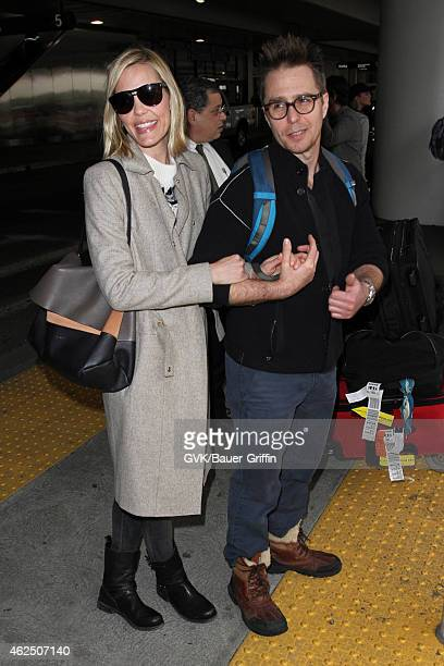 Leslie Bibb and Sam Rockwell seen at LAX on January 29 2015 in Los Angeles California