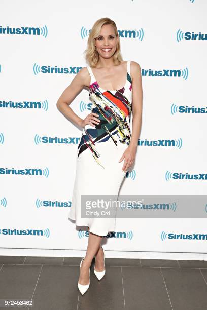 Leslie Bibb takes part in SiriusXM's Town Hall with the cast of 'Tag' hosted by SiriusXM's Michelle Collins on June 12 2018 in New York City