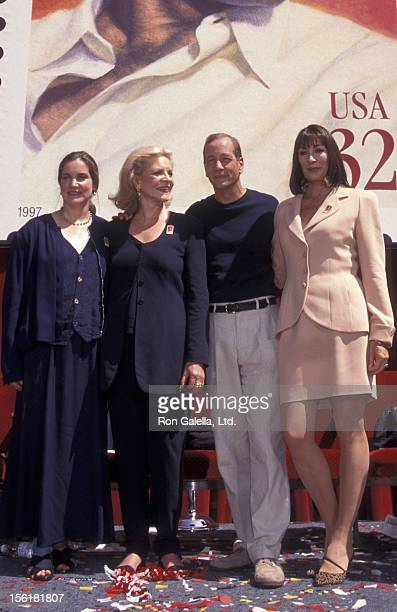 Leslie Bogart Stephen Bogart and actresses Lauren Bacall and Anjelica Huston attend Humphrey Bogart Stamp Unveiling Ceremony on July 31 1997 at Mann...