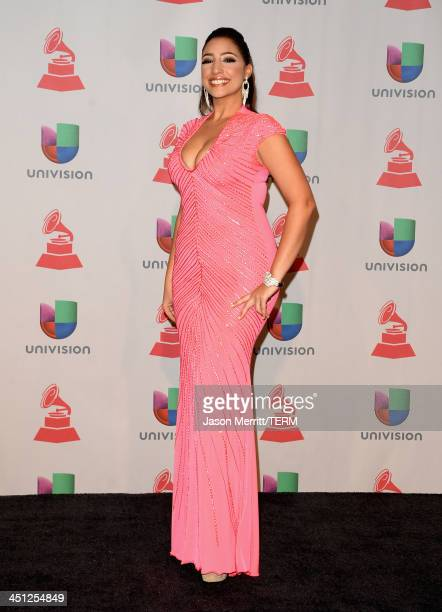 Leslie Cartaya poses in the press room at the 14th Annual Latin GRAMMY Awards held at the Mandalay Bay Events Center on November 21, 2013 in Las...