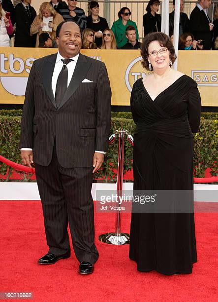 Leslie David Baker and Phyllis Smith arrive at the19th Annual Screen Actors Guild Awards held at The Shrine Auditorium on January 27, 2013 in Los...