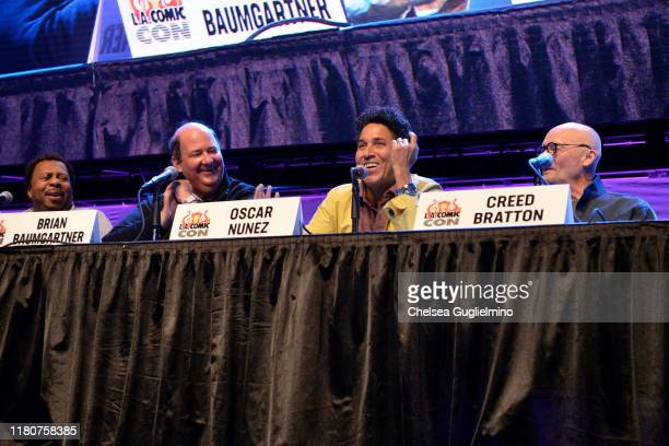 """Leslie David Baker, Brian Baumgartner, Oscar Nunez and Creed Bratton speak onstage at """"The Office"""" Reunion panel at 2019 Los Angeles Comic-Con at Los..."""
